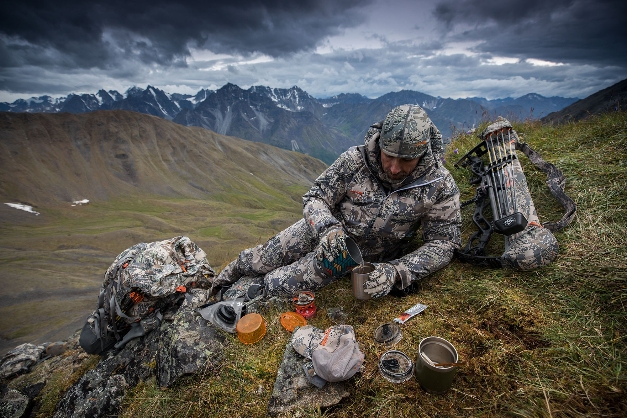 Hunter refuels on a mountainside.