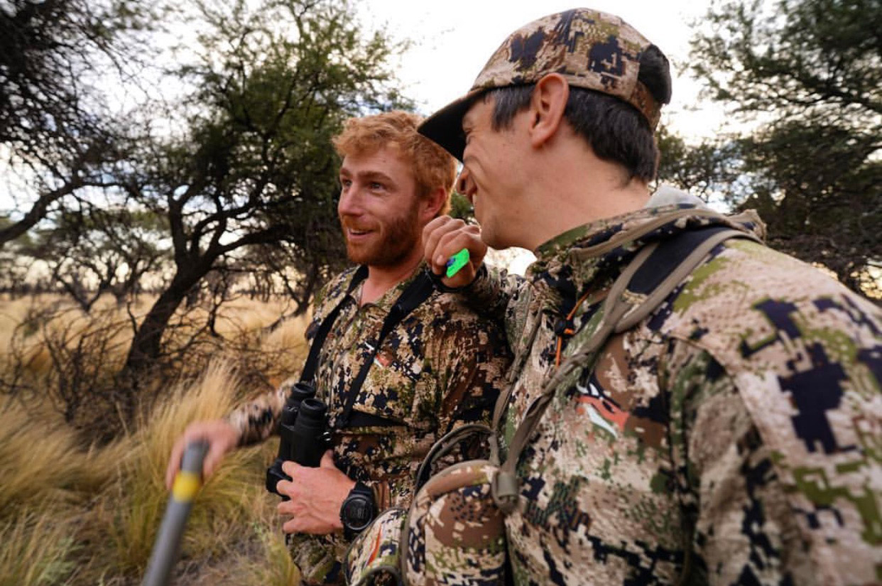 Bow hunters share a laugh.