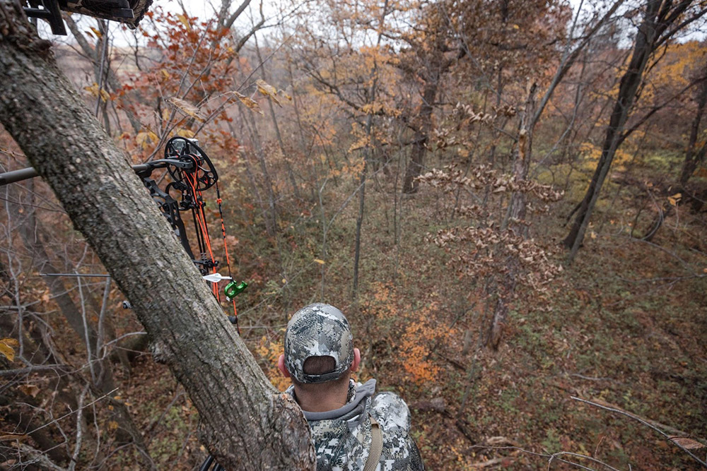 Bowhunter waiting for a buck to walk by.