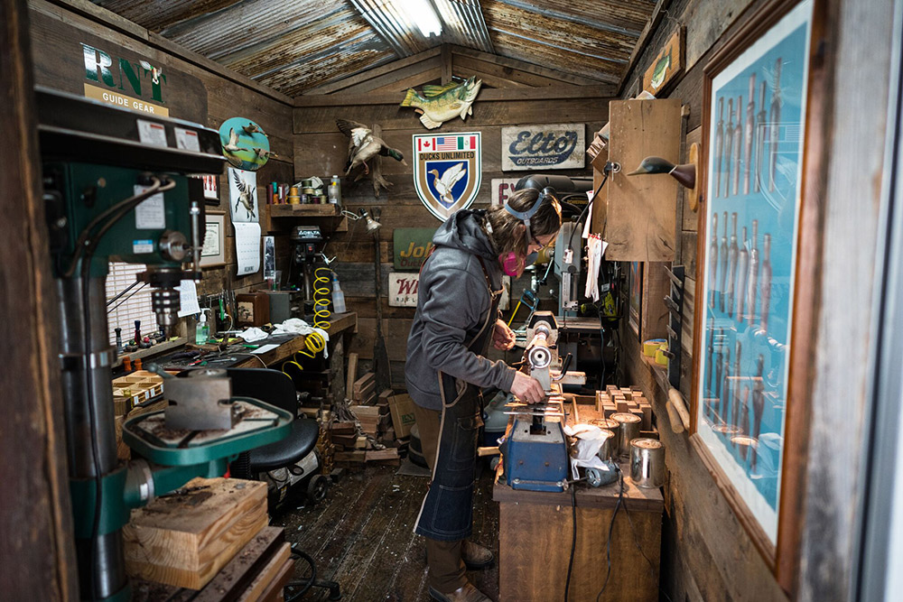 John Stephens turns calls in his shop