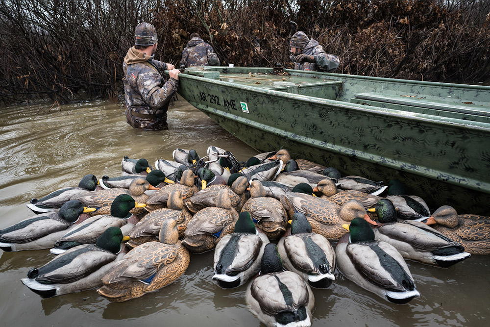 Duck hunters in their spot with plenty of decoys in tote.