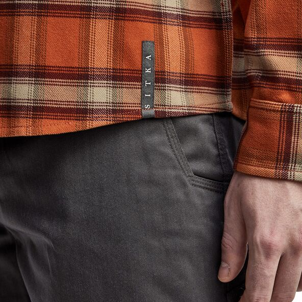 Riser Work Shirt in Copper Plaid SITKA tag