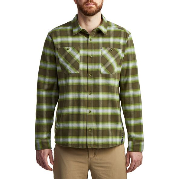Riser Work Shirt in Covert Plaid from the front