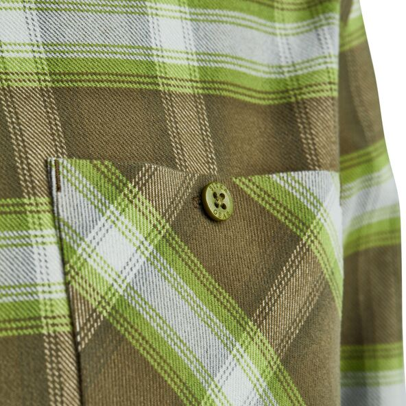 Riser Work Shirt in Covert Plaid button close-up