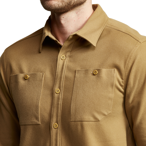 Riser Work Shirt in Clay sleeves and buttons