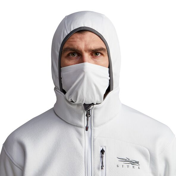 Gradient Hoody in White face mask