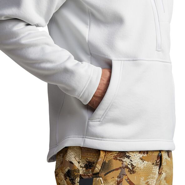 Gradient Hoody in White hand pocket