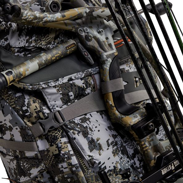 Tool Bucket Whitetail Pack with bow strapped down