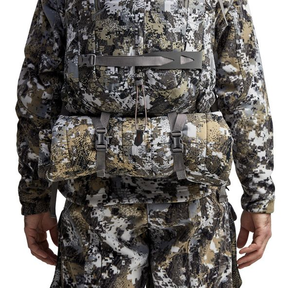 Tool Bucket Whitetail Pack back view with jacket